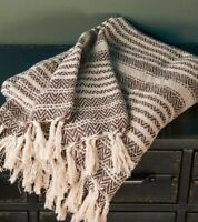 Natural Nordic Design Cotton Patterned Throw with Tassels White Black Blanket
