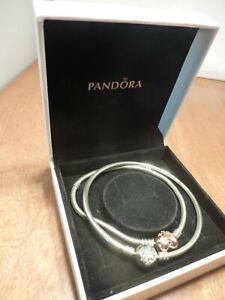 "Sterling Silver 925 PANDORA ""R"" Rose Heart Bracelet AND CZ Pave Bangle. 25.83g"