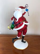 "Christmas 12"" Nodding Santa Claus Jingle Bell Holiday Glitter Figurine Red Green"