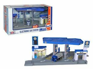 MOTORMAX 1:64 DIORAMA GULF GAS STATION WITH TANKER TRY-ME SOUND & LIGHTS 79638