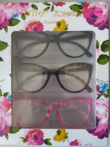 Betsy Johnson Readers Cat Eye +2.50 Set Of 3 black, tortoise, and pink frame NIB