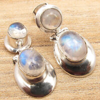 925 Silver Overlay RAINBOW MOONSTONE & Other Gems Variation Earrings