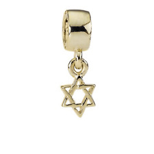 "Genuine Pandora 14ct. Gold Dangle Charm ""Star of David"" - 750272 - retired"