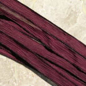 Burgundy Crinkle Silk Ribbons 5 Hand Dyed Strings JamnGlass Bridal Wedding Decor