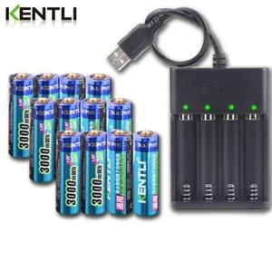 Kentli Li-Ion Rechargeable Batteries AA 1.5V 3000mWh Charger + Battery BIG SALE