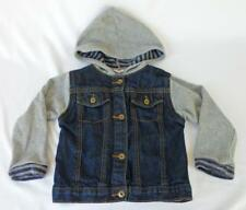 Boys Wrangler Denim Jacket 4T Gray Hoodie Accents EUC