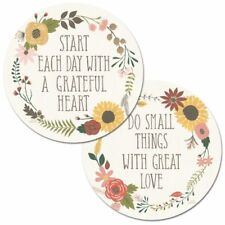 Autumn Garden w/Motivational Quote Reversible Plastic Round Placemat Set ~ Set/4