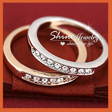 18K GOLD FILLED SOLID WOMENS GIRLS SIMULATED DIAMOND ETERNITY WEDDING BAND RINGS