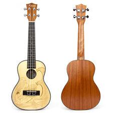 Kmise Spruce Concert Ukulele Hawaii Guitar 23 inch Mahogany Carved Surfing
