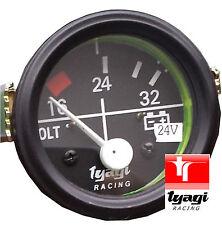 """52MM (2"""") BLACK DIAL GAUGE CAR UNIVERSAL 16-24-32 VOLT METER CLOCK 24V"""