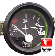 "52MM (2"") Esfera Negra Calibre Coche Universal 16-24-32 voltios Medidor de reloj 24V"