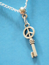 "PEACE SIGN Necklace SKELETON KEY Love Rock Roll 1"" Charm 22"" Silver Chain NEW!"