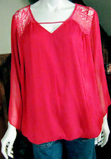 AGB WOMANS PLUS 3X HOT PINK TOP BOLO SLEEVES LACE TRIM DRESS/CASUAL NWT