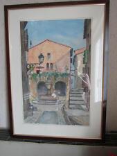 """grande aquarelle """"la fontaine du village""""  signé Jacques Francki 1920-1987"""