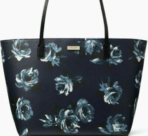 NWT Kate Spade Margareta Navy Floral Saffiano X-Large Tote PVC WKRU5555 $299 FS