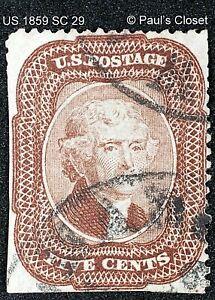 US 1859 SC 29 5¢ JEFFERSON BROWN TYPE I USED NO GUM W/BLK TOWN CANCEL FINE