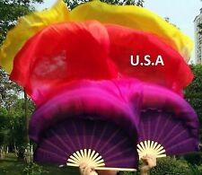 USA STORE ! 100% Silk Fan Veils Belly Dance Best Qaulity Left & Right Sets