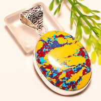 Superbe Pendentif Artisanal Multicolore Plaqué Argent 925 Str PROMO
