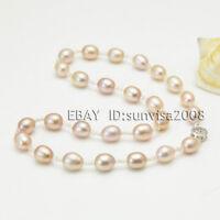 9-10mm light Purple Natural Cultured Freshwater Pearl Necklace Bracelet earrings