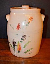 Antique Stoneware Cookie Jar  Hand Painted  Toll Painting USA SALT GLAZE