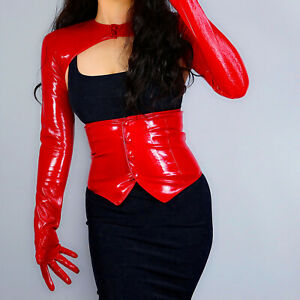 LATEX WIDE BELT Shine Leather Faux Patent Red Vest Obi Crop Top Corset Bustier
