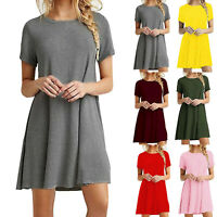 Womens Short Sleeve Flare Skater Dress Ladies Round Neck Wrap Over Pleats Dress