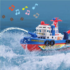 Electric Fire Boat Marine Rescue Baby Shower Bath Toys LED Music Kids Toy Gift