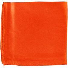 MANZO Men's Polyester Shiny Finish Pocket Square Hankie Only Orange