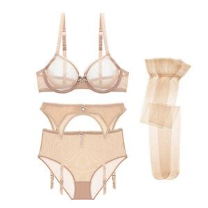 Varsbaby Sheer Mesh Bra with Panty and Garter Belt Stockings Lingerie Set 4PC