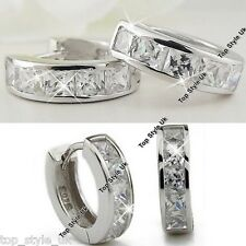 Silver Crystal Stud Hoop Round Earrings CZ Cubic Zirconia Gifts For Her Him Q1
