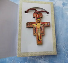 Small 2'' wood San Damiano Crucifix/Pendant~Protector Cross~with cord