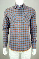 NUDIE JEANS Men Long Sleeve Shirt Indigo Check Signature Orange Trim Hem Blue M