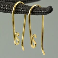 24K Gold Vermeil SILVER Wire Hook Earring Findings Pair Gold-Plated 0.45 g