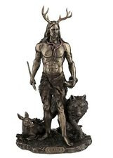 "11.75"" Herne the Hunter w/ Deer & Wolf Figurine Figure Statue Celtic Cernunnos"
