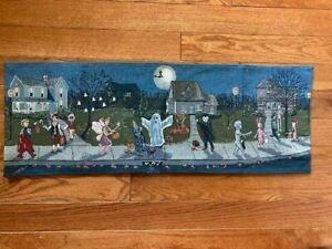 """Halloween Table Runner 35""""L x 12.75""""W Tapestry Blue Children in Costumes"""
