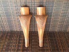 "VTG Pair Of Cabriole Chair Legs In Carved Wood Light Brown Tone 16"" Long"