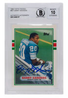 Barry Sanders Signed 1989 Topps #83T Detroit Lions Football Card BGS Auto 10