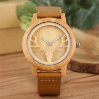 Men's Wood Watch Hollow Elk Natural Wooden Quartz Wristwatch Leather Bracelet