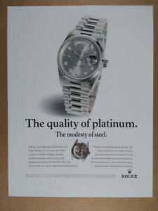 1998 Rolex Day-Date Platinum Watch vintage print Ad