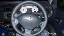 FOR RENAULT CLIO MK2 II BLACK ITALIAN LEATHER STEERING WHEEL COVER BLUE STITCH