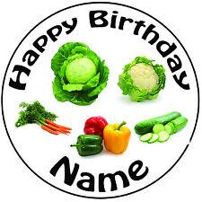"""Personalizzato Compleanno riparto mix di verdure ROUND 8"""" PRETAGLIATO GLASSA cake topper"""