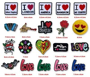 I love UK America One Love flower life badges Iron on Sew on Embroidered Patch