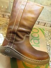 NEW CHACO CREDENCE WATERPROOF LEATHER TALL BOOTS WOMENS 6 COGNAC  FREE SHIP