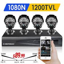Defeway 4CH 1080N DVR 4 Outdoor 1500TVL HD Home Security Camera System No HDD