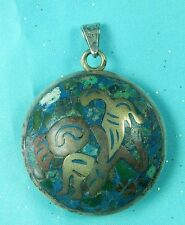 Vintage Tacxo Mexico Mexican Amulet Painted Sterling Silver Pendant