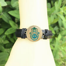 Hamsa Hamsa Hand Black Bangle 20 mm Glass Cabochon Leather Charm Bracelet