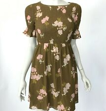 Madewell Smocked-Top Dress in Retro Bouquet Floral Chiffon Bell Sleeve Womens XS