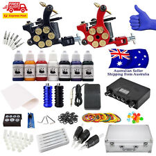Deluxe Complete Tattoo Kit 2 Pro Coil Guns Dual Power Supply Ink Needles AUS Sel