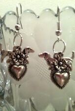 Dachshund Dog Flower Heart VALENTINE'S DAY Earrings, Silver Plated Wires, Gift