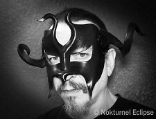 Black Masquerade Leather Mask w/ Huge Horns Halloween Costume Gladiator Cosplay